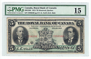 1913-Royal-Bank-of-Canada-5-Bank-Note-PMG-Graded-Fine-15-Serial-2286840