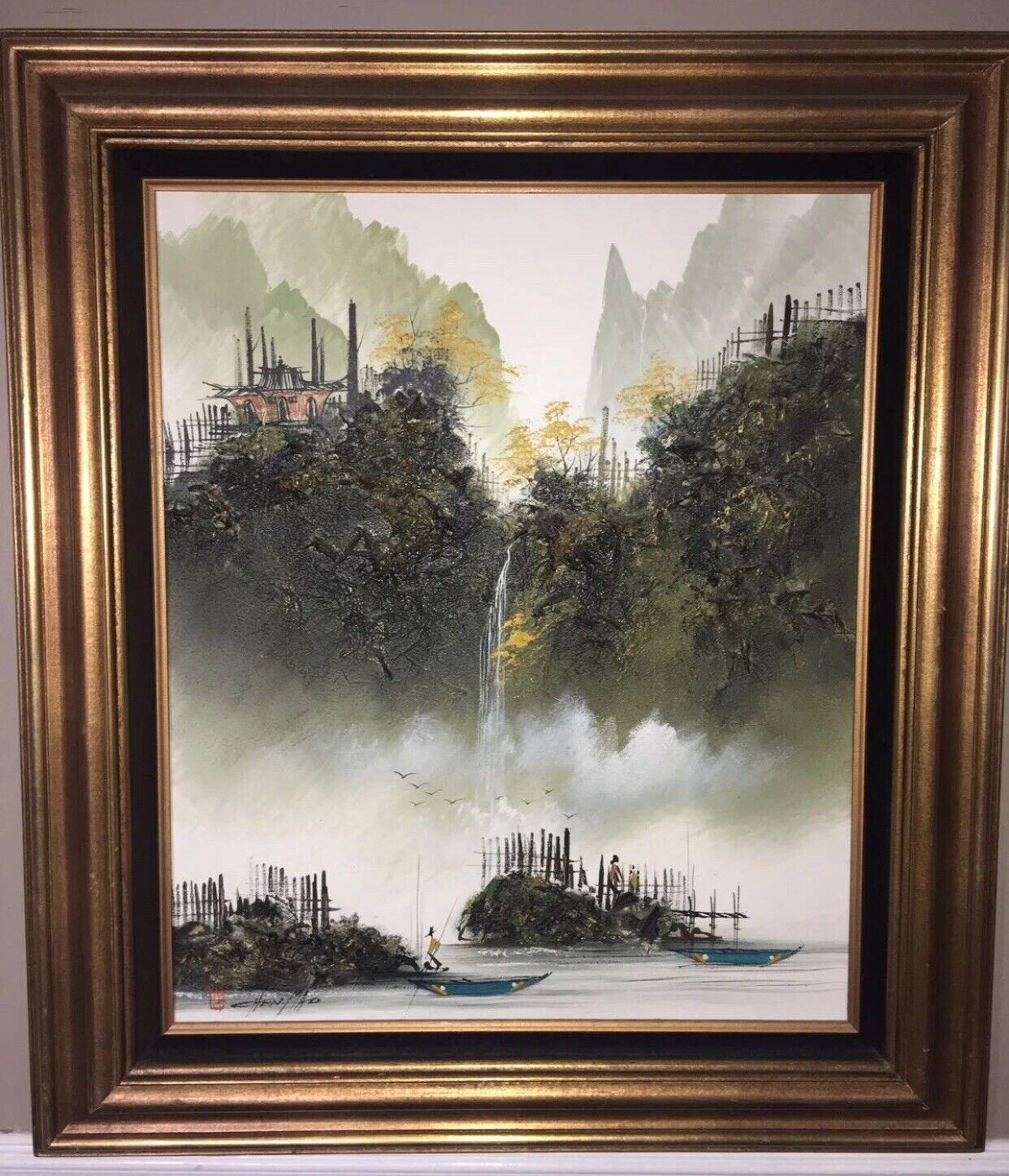 Beautiful CHEN MAO Asian Landscape Oil Painting Rare Signed Framed 2