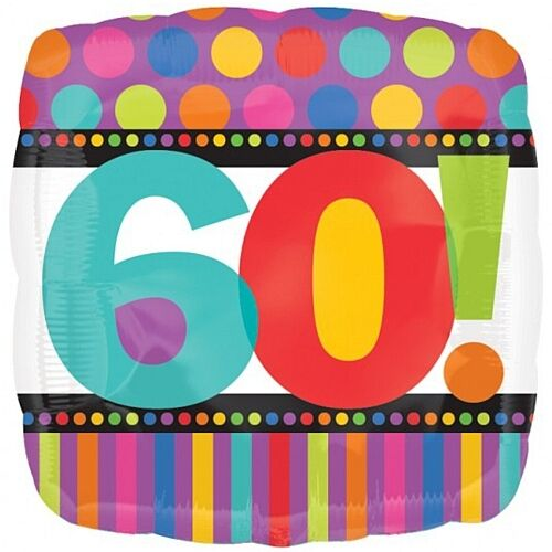 "Anagram HAPPY 60th BIRTHDAY 60 Today Unisex Square Foil Helium Balloon 18/"" 45cm"