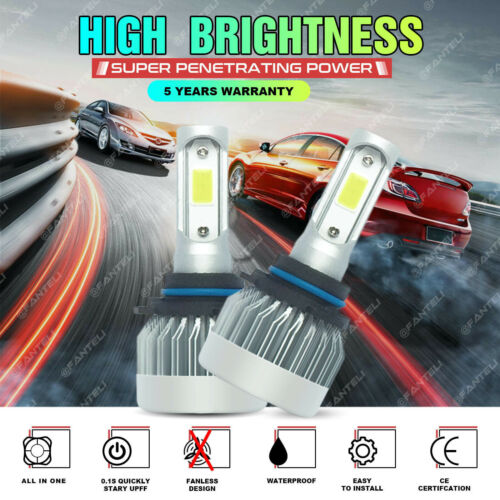 2x Fanless CREE LED Headlight Low Beam 6000K White Power 9006 1715W 257250LM