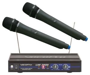 Image Is Loading VocoPro UHF 3200 Dual Channel Wireless Microphone