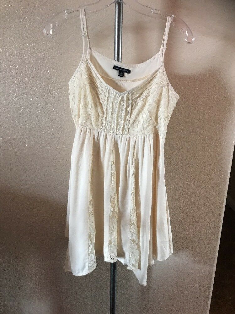 328ac6d1056a0 American Eagle Outfitters Lace Flowy Short Dress Size 2 Small Maxi Beige  npzypu4415-Dresses