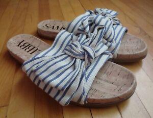 Sam & Libby Womens 8 Slip On Sandals Blue White Bow Nautical Mules Flats Slides