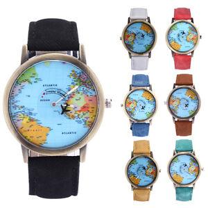 Retro vintage earth world map watch alloy women men analog quartz image is loading retro vintage earth world map watch alloy women gumiabroncs Image collections