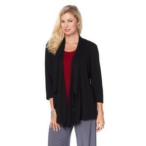 Slinky Brand Women/'s 3//4-Sleeves Drape Front Knit Jacket Cardigan Small Size HSN