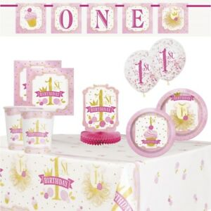 Image Is Loading Pink Amp Gold 1st Birthday Party Supplies Tableware