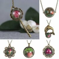 New Retro Real Dried Flower Seagrass Glass Bottle Bronze Chain Necklace Pendant