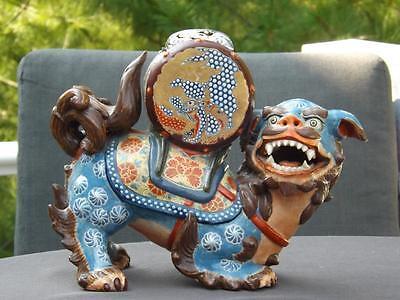 Antik Asiatische Cloisonne Emaille Foo Hund Duftlampe Statue Sterlingsilber Ausgezeichnete (In) QualitäT