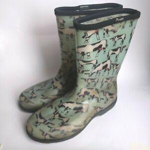 Details About Sloggers Blue Cow Print Rubber Boots Women S 10 Gardening Rain