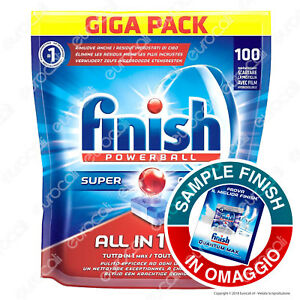 100-Pastiglie-Finish-Powerball-Tutto-in-Uno-Max-Lemon-Tabs-per-Lavastoviglie