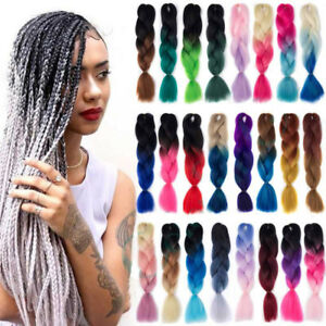 Hot-24-034-Ombre-Kanekalon-Dip-Dye-Jumbo-Braid-Synthetic-Hair-Extensions-55-Colors