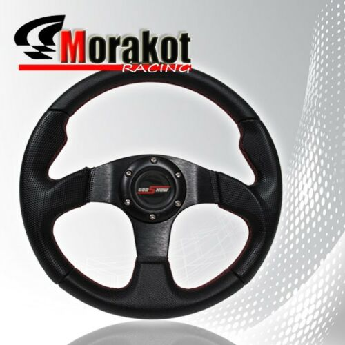 Universal Jdm 320mm 6 Bolt Pvc Leather Steering Wheel Red//Black Aluminum Center