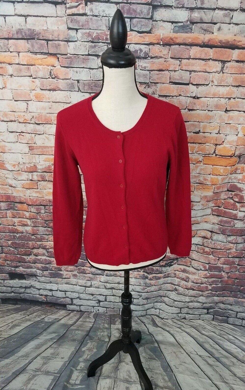 Neiman Marcus Women's Long Sleeve Red 100% CASHMERE Cardigan Sweater Sz S EUC