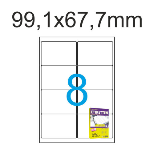 320 Etiketten 99,1x67,7 mm Weiss 40 Blatt A4 Aufkleber 99 x 67 Luma Klebeetikett