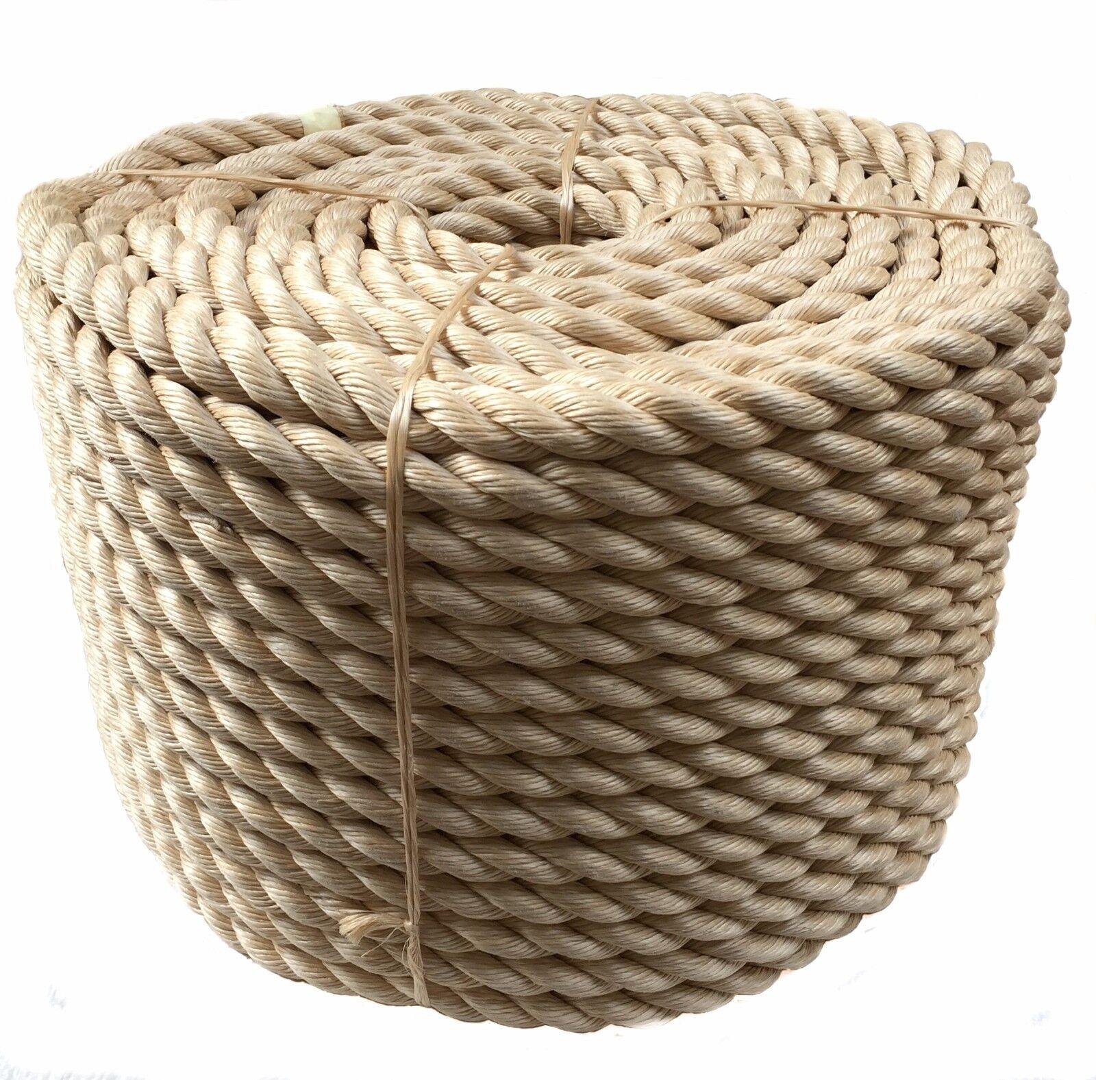 15 Metres X 48mm Synthetic Sisal 3 Strand Decking Rope, Sisal Rope, Decking,