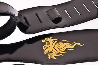 """RockYou Black Leather Guitar Strap 3/"""" Wide Adjustable For Acoustic Electric Bass"""