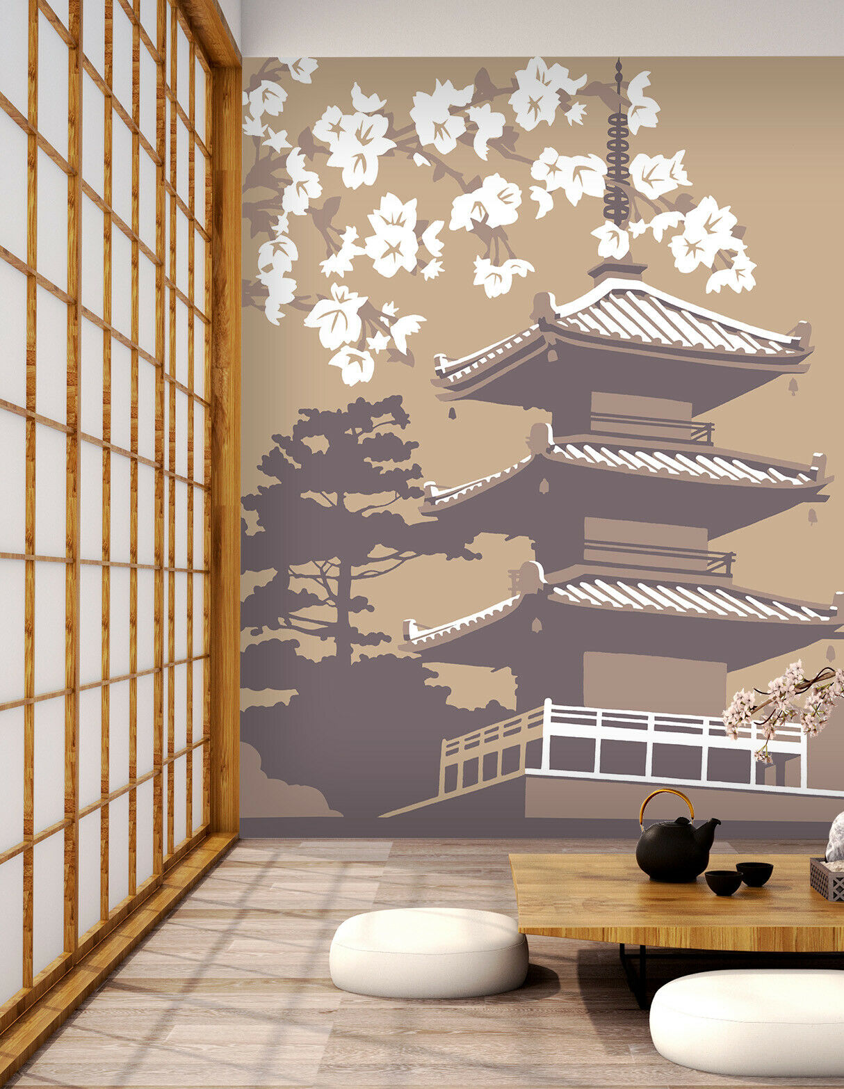 3D Japan Cherry N320 Wallpaper Wall Mural Removable Self-adhesive Steve Rea Amy