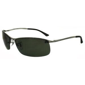 224bec41007 Image is loading Rayban-Sunglasses-Top-Bar-3183-Gunmetal-Polarized-Green-