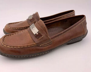 Ralph-Lauren-Hildy-Women-039-s-Shoes-Size-7-1-2-Polo-Slip-On-Brown-Leather-Loafers