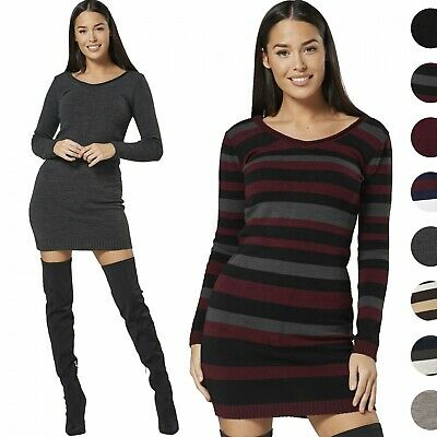 Glamour Empire Women/'s Knitted Striped Jumper Dress –Scoop Neck Sweater 1099