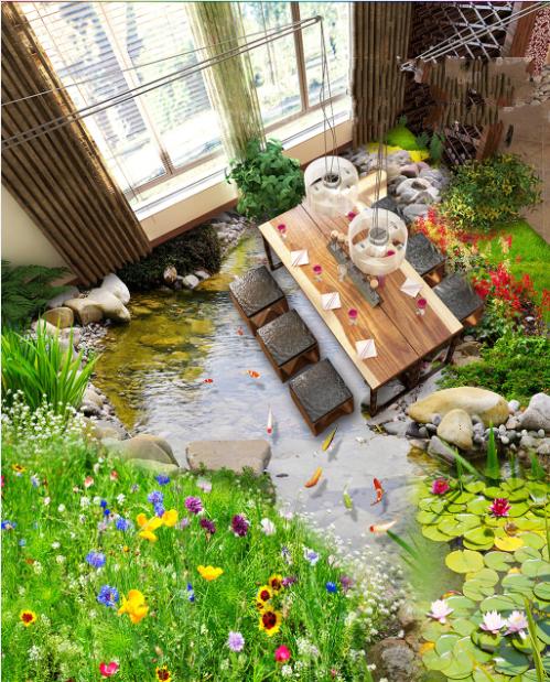 3D Garden Fish Pond 832 Floor WallPaper Murals Wall Print Decal AJ WALLPAPER US