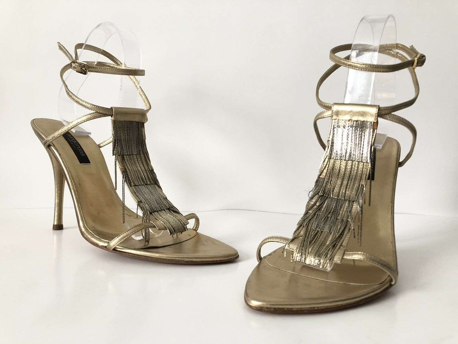 Sergio Rossi gold silver metal fringe ankle sandal 40 New