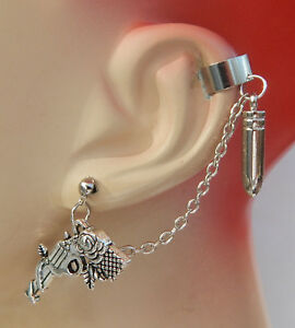 Image Is Loading Ear Cuff Silver Gun Amp Bullet Charms Drop