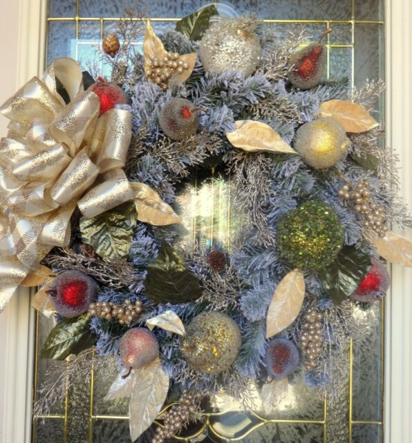 """Christmas Floral Door WREATH DIVA """"Frosted Fruit"""" Gorgeous Elegant CLEARANCE $$"""