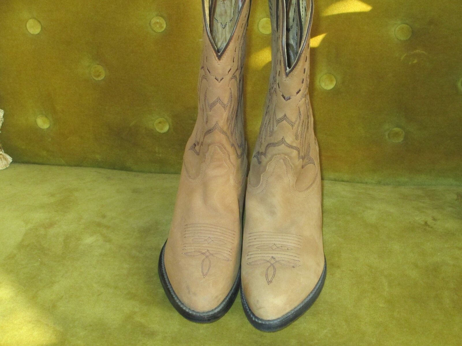 TONY LAMA TAN LEATHER COWBOY WESTERN BOOTS SIZE 7