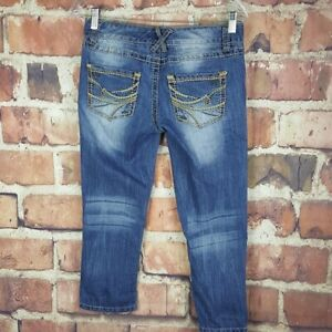 Maurices-Womens-Cropped-Jeans-Size-3-4-Juniors-Distressed-Capri-Thick-Stitch