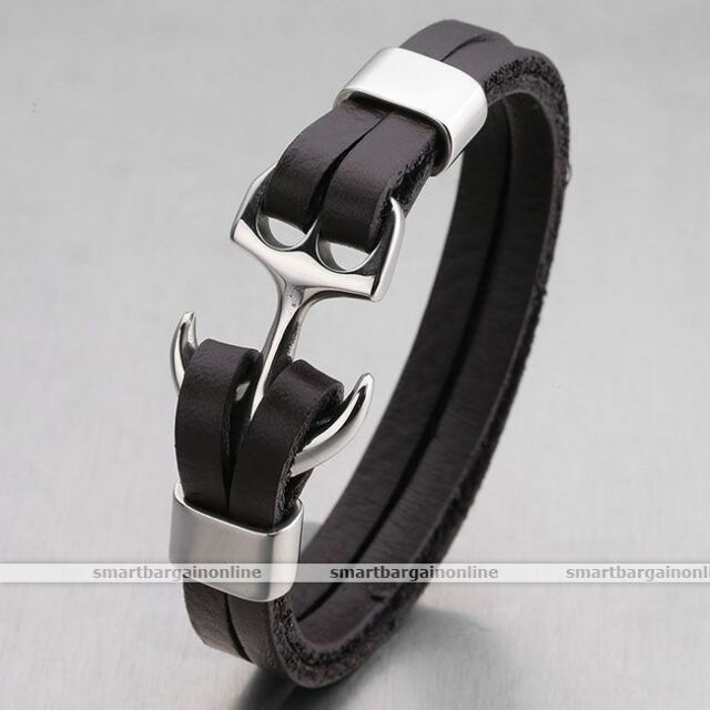 Men Anchor Charms Genuine Leather Stainless Steel Bracelet Wristband Bangle Cuff