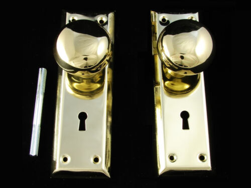 ANTIQUE STYLE SOLID BRASS DOORKNOB /& BACKPLATES PLATES SET NEW REPLACEMENT