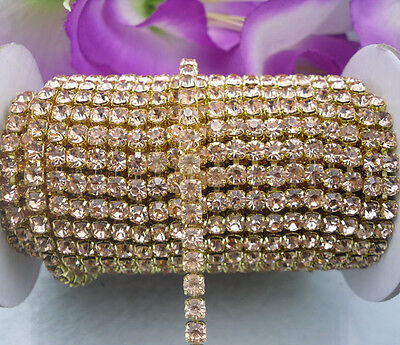 SS16 4mm Many color crystal glass rhinestone compact close Golden chain trims