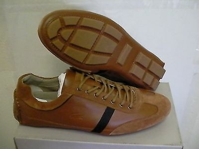 Lacoste Mens Berryman SRM Brown Tan Leather Lace-Up Casual size 9 us