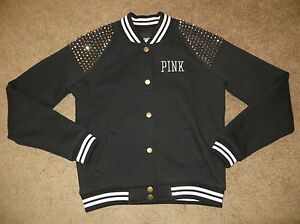 VICTORIA'S SECRET FASHION SHOW PINK BLACK STUD BLING VARSITY ...