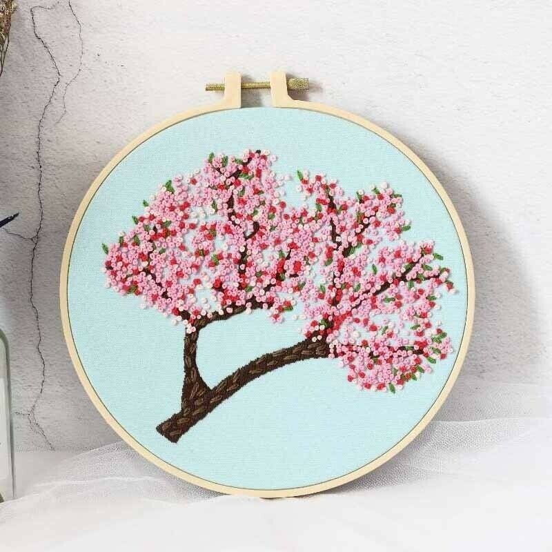 Pixnor 110 x 55cm Sakura Cherry Blossom Trees DIY Cross Stitch Embroidery Kit Home Decor Arts Crafts Sewing Cross Stitch