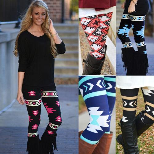 Casual Womens Ladies Skinny Geometric Print Stretchy Jegging Pants Slim Leggings