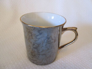 Herman-Dodge-amp-Sons-Hues-039-n-Brews-Black-Gray-Luster-Coffee-Mug-Gold-Trim