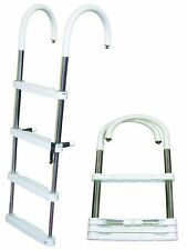 "JIF Telescoping Pontoon 4 Step Ladder 51x32x16 Stainless Steel 1"" 400 lb DUF4 MD"