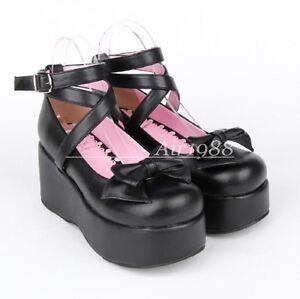 Women's Lolita Wedges Bow Cross Strap