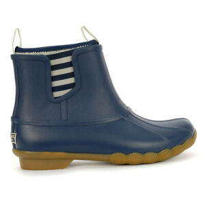 Sperry-Top-Sider-Women-039-s-Saltwater-Chelsea-Navy-Rubber-Boots-STS83988-NEW