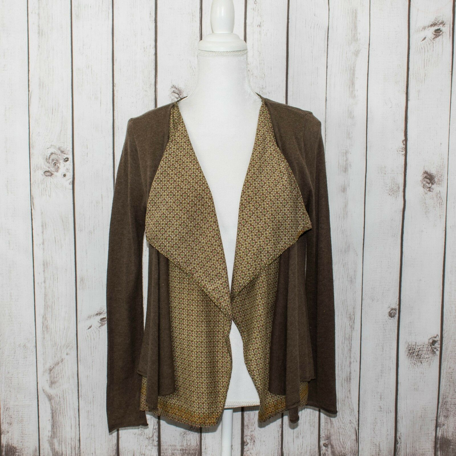 Subtle Luxury Women's Double Layer open Cardigan Top Brown Beige Sz S M