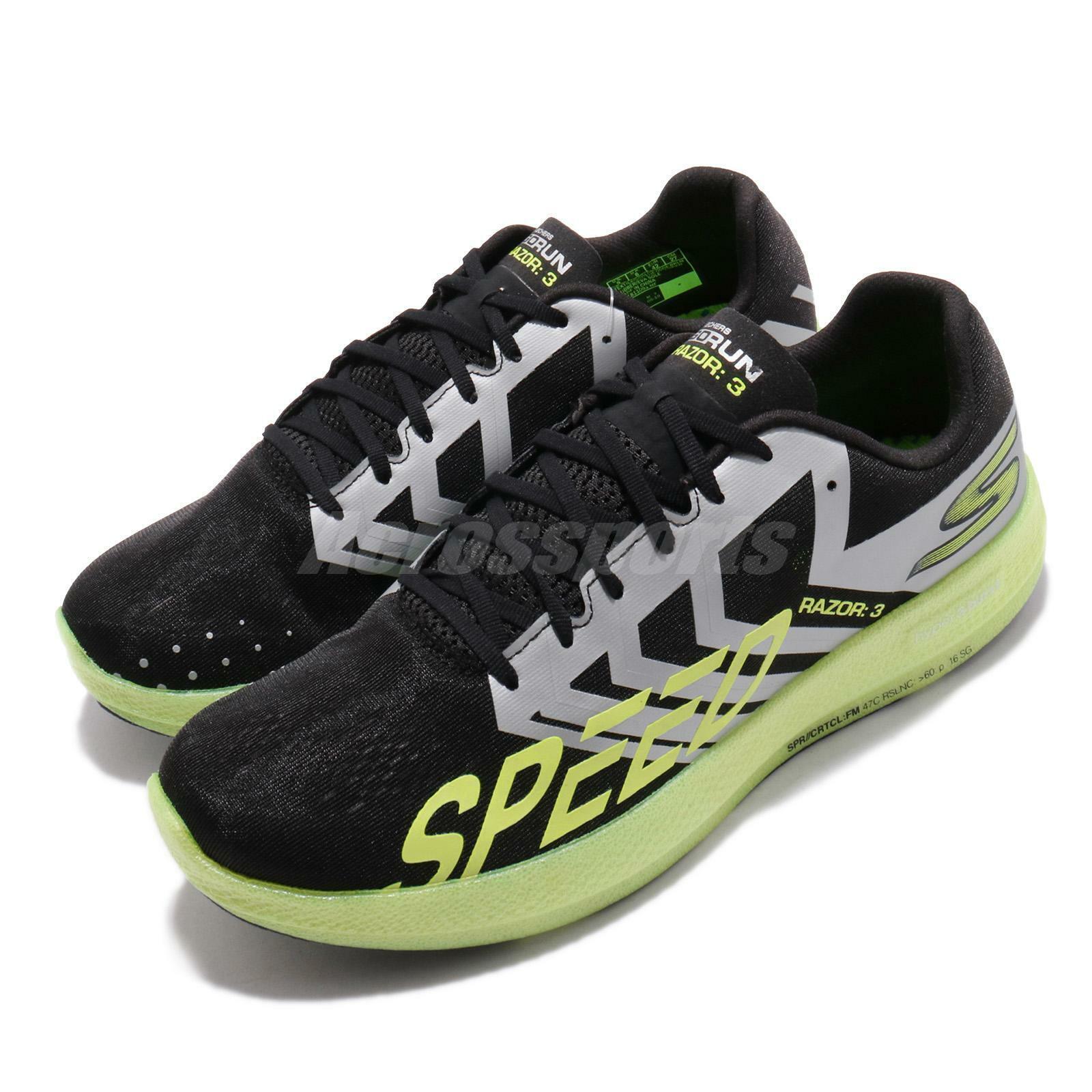 Skechers Razor 3 Negro Plata Go Run Cal Hombre Running Zapatos TENIS 55220-BKLM