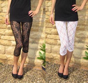 Ankle Length Leggings Lace Insert Viscose Stretch BLACK Size 6 8 10 12 14 20
