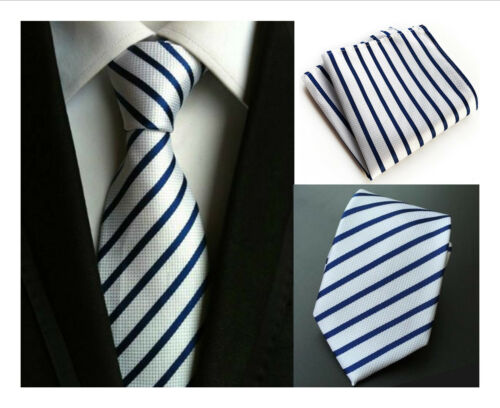 White and Blue Stripe Patterned Handmade 100/% Silk Wedding Tie Pocket Square Set