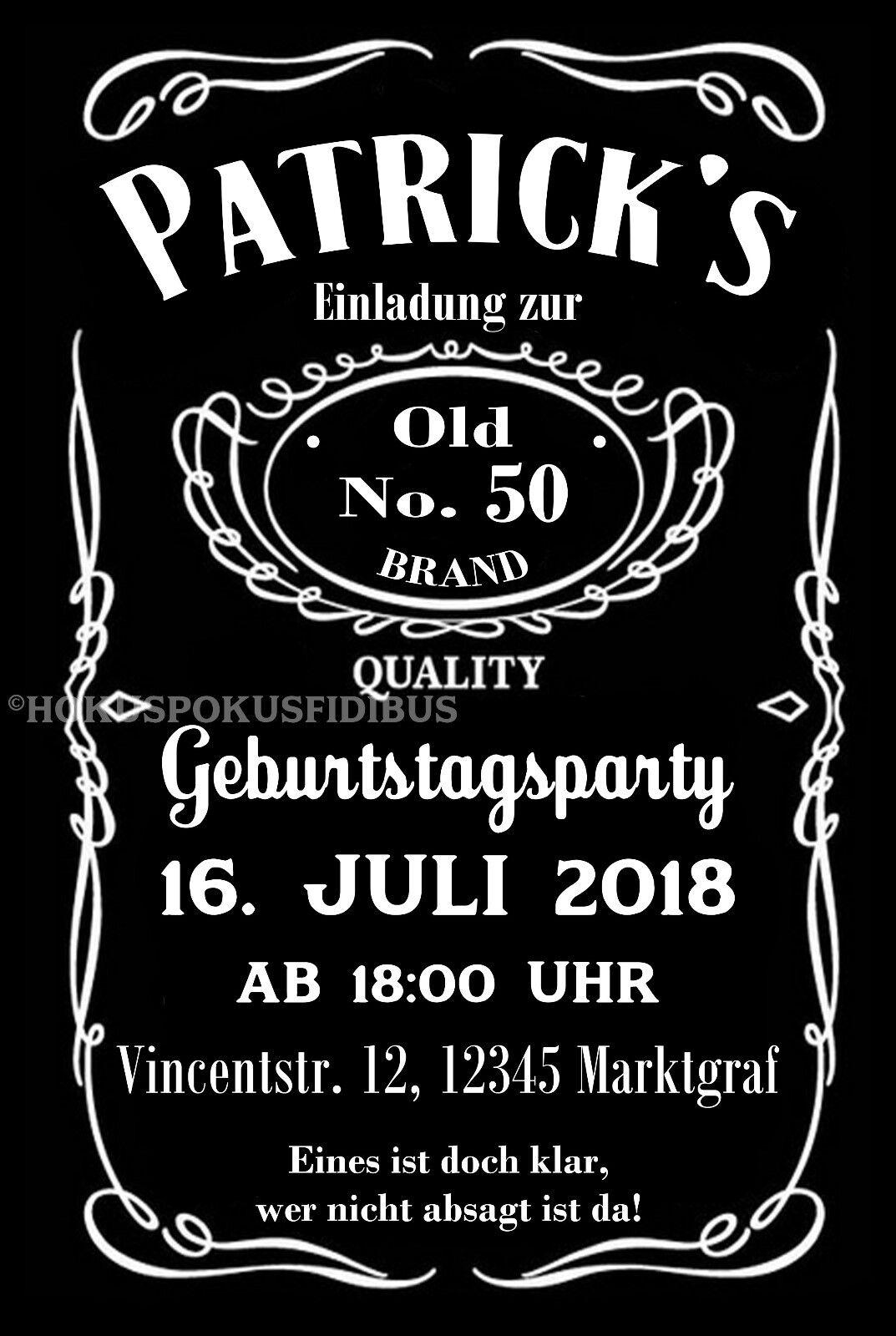 50 Einladungskarten Geburtstag Einladungen jedes Alter 18 30 40 50 60 70 Whiskey   | Preiszugeständnisse  | Günstig