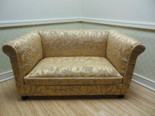 3205-1gfmh Mahogany Upholstered Couch Dollhouse Miniatures Furniture 1//12