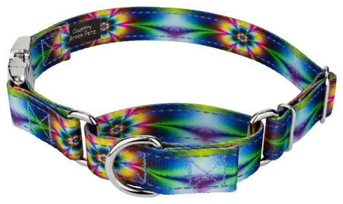 Tie Dye Flowers Reflective Martingale Dog Collar With Premium Buckle