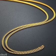 17.7inch Fine Solid 999 24k Yellow Gold Necklace Men Women Curb Link Chain