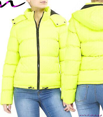 NEU neon grün leuchtend Frauen Gesteppt Winter Mantel gefütterte Jacke Parka | eBay